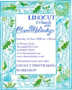 Linocut printmaking workshop June 1st 2013
